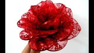 getlinkyoutube.com-Moños flores rosas rojas en cintas de organza escarchada