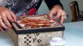 getlinkyoutube.com-DIY | Faça Você Mesmo | Decoupage em Madeira Caixa Porta Jóias | Livia Fiorelli | LifeArtesanato