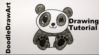 getlinkyoutube.com-How To Draw A Baby Panda Bear Cartoon - Easy Drawing Lesson for Kids! tutorial