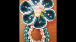 getlinkyoutube.com-jewelry 3: flower brooch to make a pin using satin #DIY @azhira