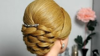 getlinkyoutube.com-Bridal prom updo hairstyle for long hair.