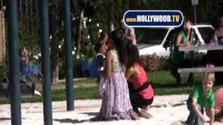 Christina Milian Plays in Park With Children