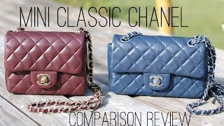 getlinkyoutube.com-CHANEL Mini square vs. Mini rectangle handbag comparison