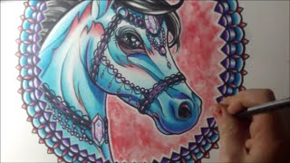 getlinkyoutube.com-Horse Tattoo Art Watercolor Speed Painting with Colored Pencils and Fountain Pens