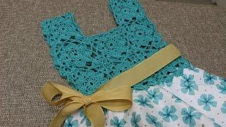 getlinkyoutube.com-Blusa Crochet para Vestido Circular de Tela