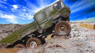 getlinkyoutube.com-RC TRUCKS OFF Road MUD Terrain - Scale model: MAN Truck 6x6, Hummer, Tamiya Pajero, Axial, HPI