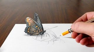getlinkyoutube.com-Drawing a Butterfly - Cool 3D Trick Art on Paper