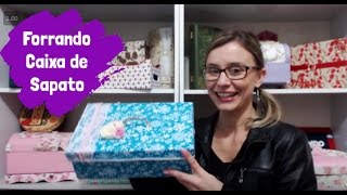 getlinkyoutube.com-Forrando caixa de sapato com tecido - maleta com caixa de sapato