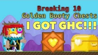 getlinkyoutube.com-Growtopia | Breaking 10 Golden Booty Chests/Golden Heart Crystal