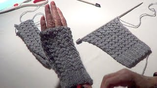 getlinkyoutube.com-Fingerless Gloves - Eyelet Mock Cable Ribbing Stitch - Fingerless Mitts