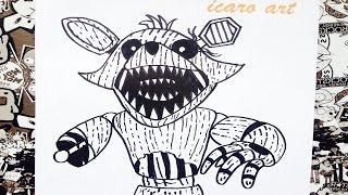 getlinkyoutube.com-Como dibujar a phantom foxy de five nights at freddy's | how to draw phantom foxy