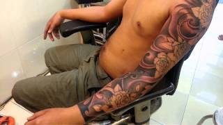 getlinkyoutube.com-Tattoo hoa hồng,hoàng anh TATTOO Cần Thơ,full arm tattoo