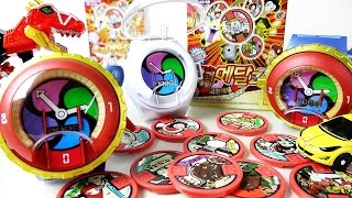 getlinkyoutube.com-Youkai Watch 요괴워치 제로 고전메달 사운드와 파워레인저 다이노포스 장난감 동영상 Youkai Watch Medal sound toys