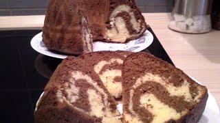 getlinkyoutube.com-Mramor / Tigar kolač - Marbré ou gâteau tigré - Zebra Bundt Cake