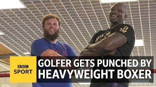 The Open: Golfer Andrew 'Beef' Johnston trains with boxer Dillian Whyte - BBC Sport width=