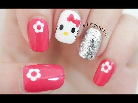 Easy Hello Kitty Nails (Freehand!)