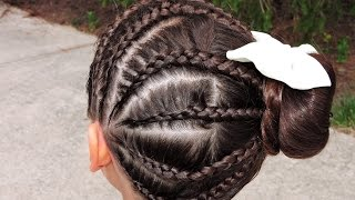 getlinkyoutube.com-Como hacer trencitas combinadas con Dona #3 | Little braids to bun hairstyle