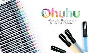Ohuhu Watercolor Brush Pen + Acrylic Paint Marker Review