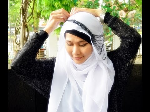 Necklaced Paris Hijab Style Tutorial Inspired by Fatin Shidqia - Part 14#