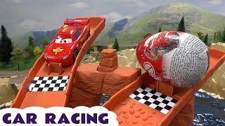 Cars 2 Race Surprise Eggs Thomas & Friends Hot Wheels Lightning McQueen Spider-Man Racing Set