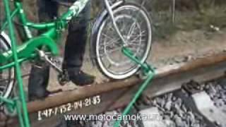 "getlinkyoutube.com-ВЕЛОДРЕЗИНА  ""Кузнечик "" (Railbike, draisine, motodraisine )"