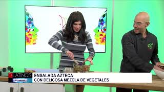 Eddie Garza preparó con Gaby una ensalada Azteca
