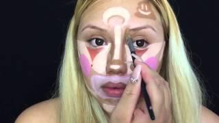 getlinkyoutube.com-При помощи клоунской раскраски на лице бьюти-блогер превращается в гламурную красотку