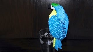 getlinkyoutube.com-3D origami blue-and-yellow macaw parrot tutorial (instruction)