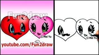 getlinkyoutube.com-How to Draw a Heart - Hearts in LOVE  - Valentine Hearts