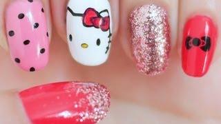 getlinkyoutube.com-Hello Kitty Inspired Nail Tutorial (Konad Stamping)