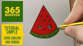 getlinkyoutube.com-COMO DIBUJAR UNA SANDIA KAWAII PASO A PASO - Dibujos kawaii faciles - How to draw a watermelon
