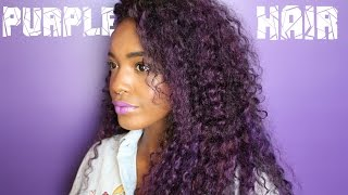 getlinkyoutube.com-Dying My Curly Black Hair Violet Purple | Justine Skye Inspired | BFHair.com