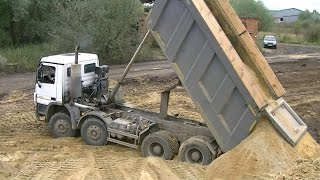 getlinkyoutube.com-Mercedes-Benz Actros MPIII 8x4 Meiller kipper unloading part 2