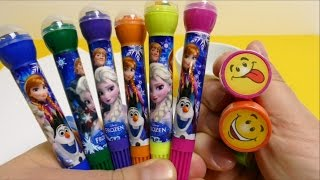 getlinkyoutube.com-FROZEN Anna Elsa Olaf Pens with Stamps & Smiley Stamps for School