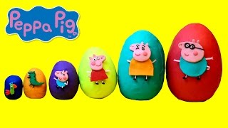 getlinkyoutube.com-Smallest to Biggest Peppa Pig Play Doh Surprise Eggs - Learn Sizes