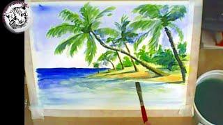 getlinkyoutube.com-Acuarela paso a paso: Tecnica Acuarela seco sobre seco: Como Pintar con Acuarela una Playa Tropical.