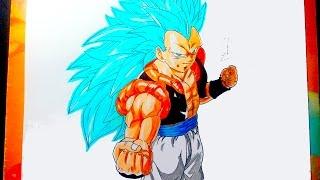 getlinkyoutube.com-DIBUJANDO A GOGETA SSJ 3 DIOS AZUL - Drawing Goku ssj3