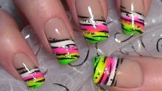 getlinkyoutube.com-Buntes Neon Streifen Muster Nageldesign / Colorful Nail Art Design Tutorial