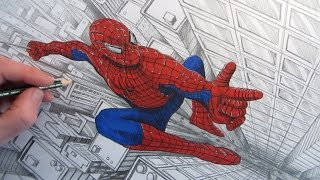 getlinkyoutube.com-How to Draw Spider-Man above a City: Narrated