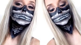 getlinkyoutube.com-Skull Bandana Face Paint Tutorial ♡ Super Easy For Halloween