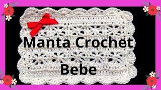 getlinkyoutube.com-Como hacer una Mantita o Cobija para bebe en tejido crochet tutorial paso a paso.