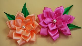 getlinkyoutube.com-ЦВЕТЫ из атласных лент. Канзаши / Ribbon Flower Tutorial / ✿ NataliDoma