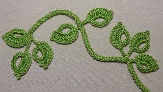 getlinkyoutube.com-Вязание веточки листиков на шнуре гусеничка - урок вязания крючком -Crochet leaf sprigs