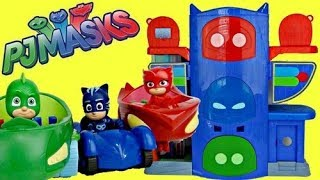 getlinkyoutube.com-PJ MASKS Headquarters HQ Playset, Owlette, Catboy, Gekko Mobile, Car, Superhero in Real Life IRL