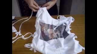 getlinkyoutube.com-Transformando camiseta  numa blusinha de verão