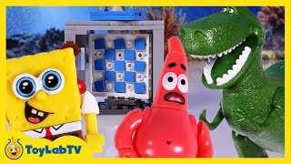 getlinkyoutube.com-SpongeBob Sponge Out of Water Toys Mega Bloks Time Machine Dinosaur Chases Patrick & Sandy Movie