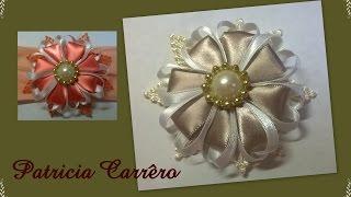 getlinkyoutube.com-Flor de fita com renda de guipir \ Ribbon flower with income guipir