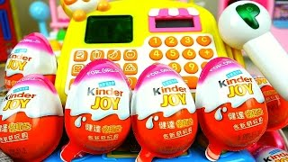 getlinkyoutube.com-Surprise eggs Mart register Kinder Joy and Play Doh detal clinic toys play