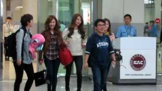 getlinkyoutube.com-121015 SNSD Taeyeon, Tiffany, Seohyun TTS arrived Gimpo Airport [FANCAM]