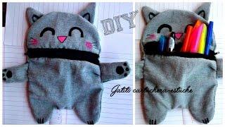getlinkyoutube.com-Como hacer una Cartuchera de gatito ║ Costura a mano ✄  Reciclaje de Tela